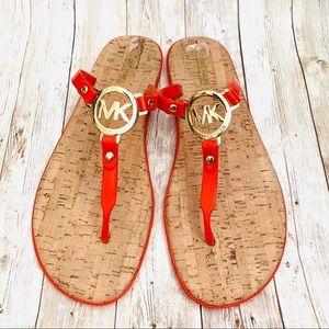 Michael Kors Red Orange Flip Flops